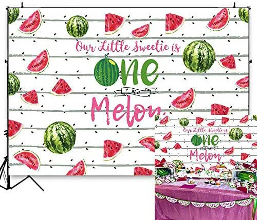 Funnytree 7X5FT One in a Melon Backdrop Watermelon Patterns Themed 1st Birthday Party Stripes Black Seeds Fruits Photography Background for First Baby Shower Custom Banner Table Decorations