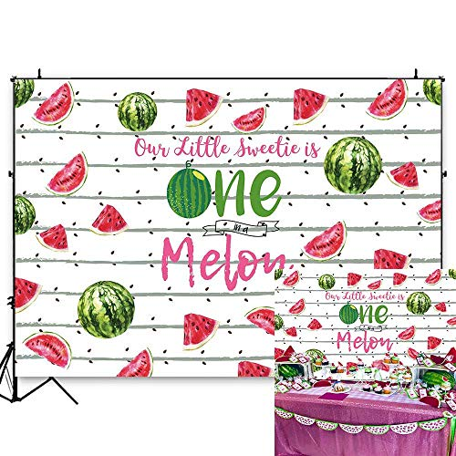 (Funytree 7X5FT One in a Melon Backdrop Watermelon Patterns Themed 1st Birthday Party Stripes Black Seeds Fruits Photography Background for First Baby Shower Custom Banner Table Decorations )