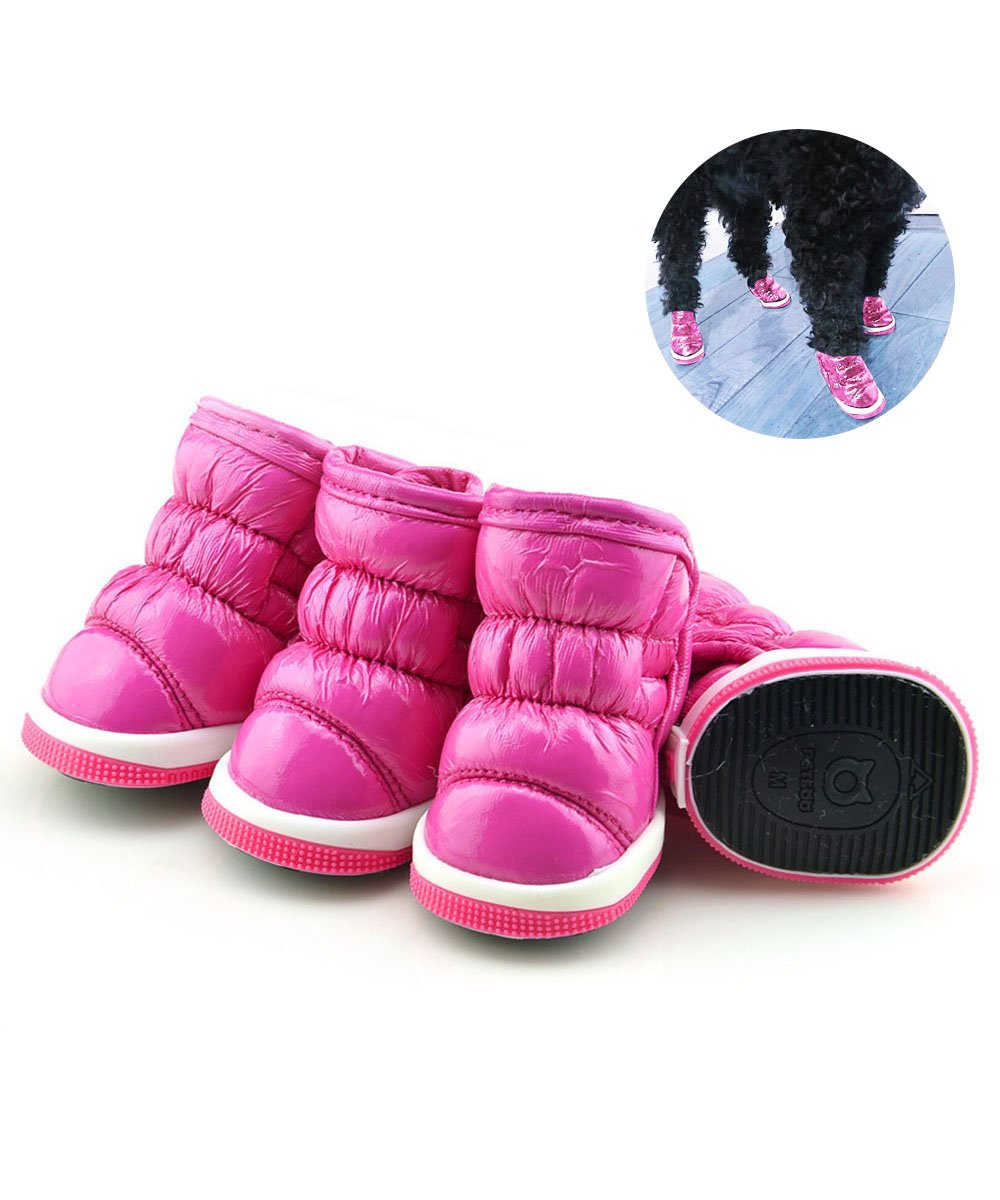 Dog Snow Boots Loveone pet Waterproof Free Pore Leather shoes Antiskid Sneakers Warm Footwear for Winter's Outdoor Activities. (1.9'' x 1.5'', Pink)
