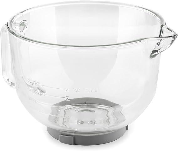 KLARSTEIN Bella Glass Bowl - Bol de cristal, Bol mezclador, Accesorio para robot de cocina Bella 2G y Lucia 2G, 2,5L, Resistente, Indicador litros y mililitros, 24x17x30cm: Amazon.es: Hogar