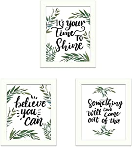 Framed Inspirational Canvas Art Prints, Set of 3 Motivational Decor Wall Artwork, Printing Bamboo Leaves Modern Colorful Poster for Bedroom Living Room Office Home Decoration 8x10