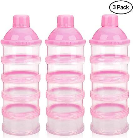 Conteneur Lait en Poudre pour Voyage Rose sans BPA Manyo Bo/îte Doseuse Lait Poudre Bo/îte Doseuse- 3 Compartiments