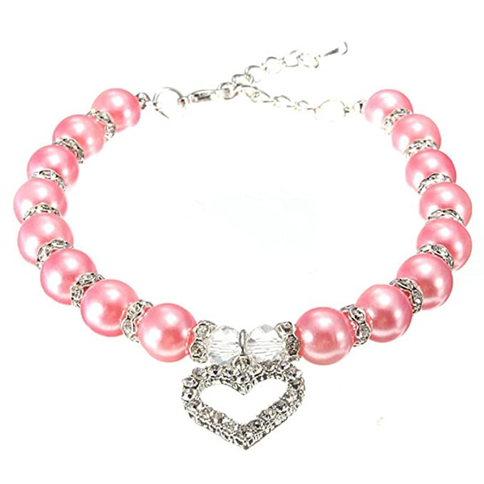 Review Wakeu Diamond Heart Rhinestone Crystal Rhinestone Pendant Pearl Collars Necklace for Small Dog Girl
