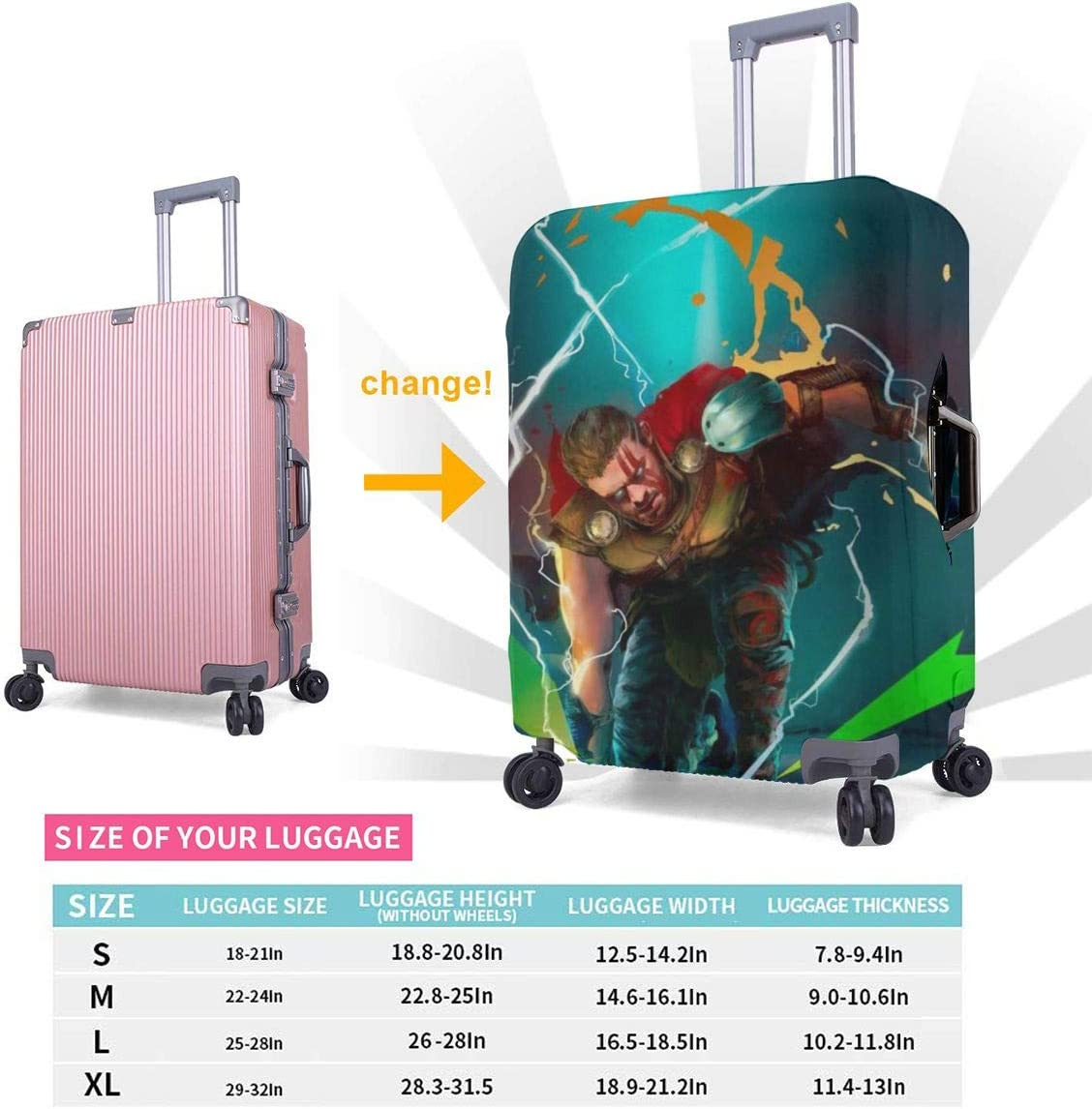 Travel Luggage Cover Thor Smash Avengers Travel Luggage Cover Suitcase Protector Fits 26-28 Inch Washable Baggage Covers