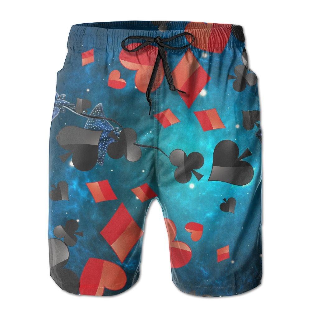 GYang Mens Beach Shorts Poker Summer Printed Swim Breathable Quick-Drying Shorts Swim Trunks Boardshorts