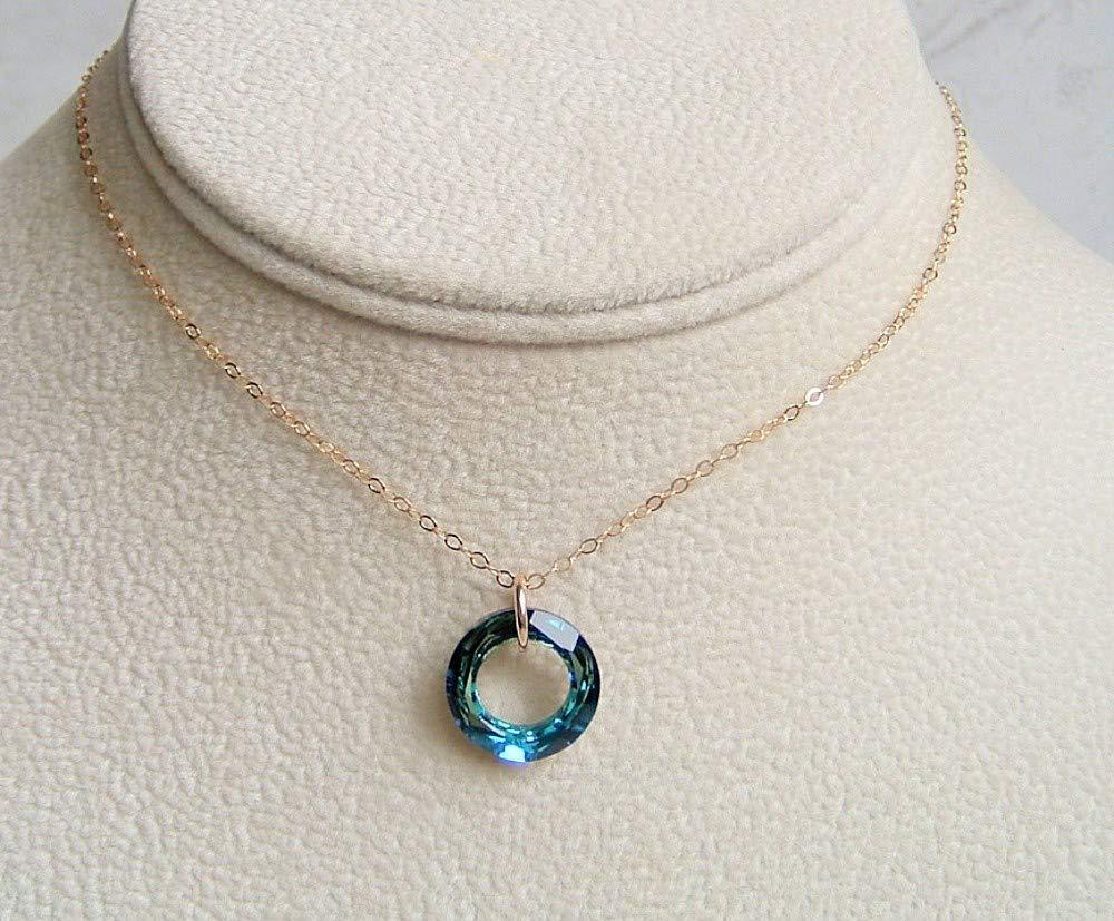 2025b0479c9e3 Amazon.com: Bermuda Blue Cosmic Round Ring Pendant 16