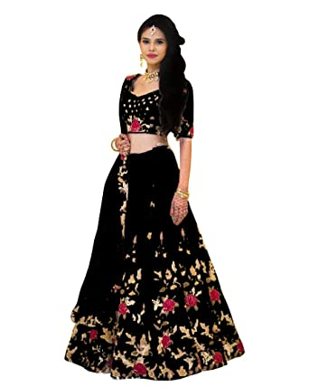 bf7194da57 Ramdev Emperio Women's Banglori Satin Embroidered Lehenga Choli with  Nazmeen Dupatta (Black, Free Size