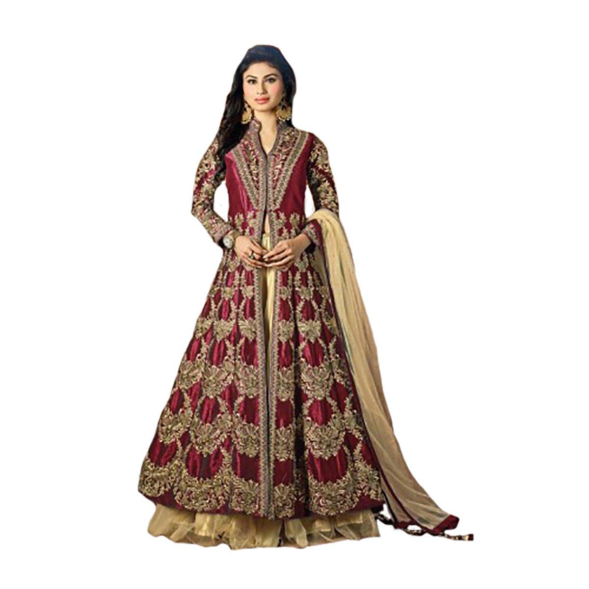 Maroon Muslim Silk Handwork Ethnic Skirt Syle Anarkali Kaftan Wedding Salwar Kameez Suit Semi Stitched Indian Pakistani Hit