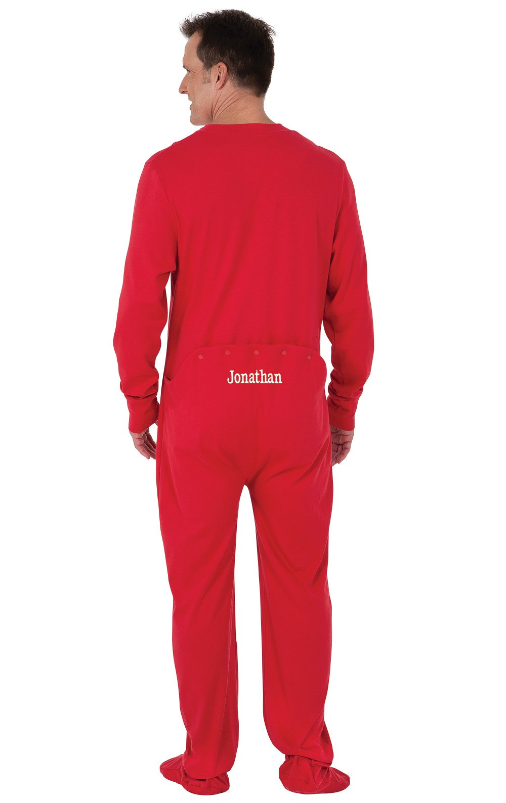 PajamaGram Personalized Men's Cotton Dropseat Footie Pajamas, Red, MED