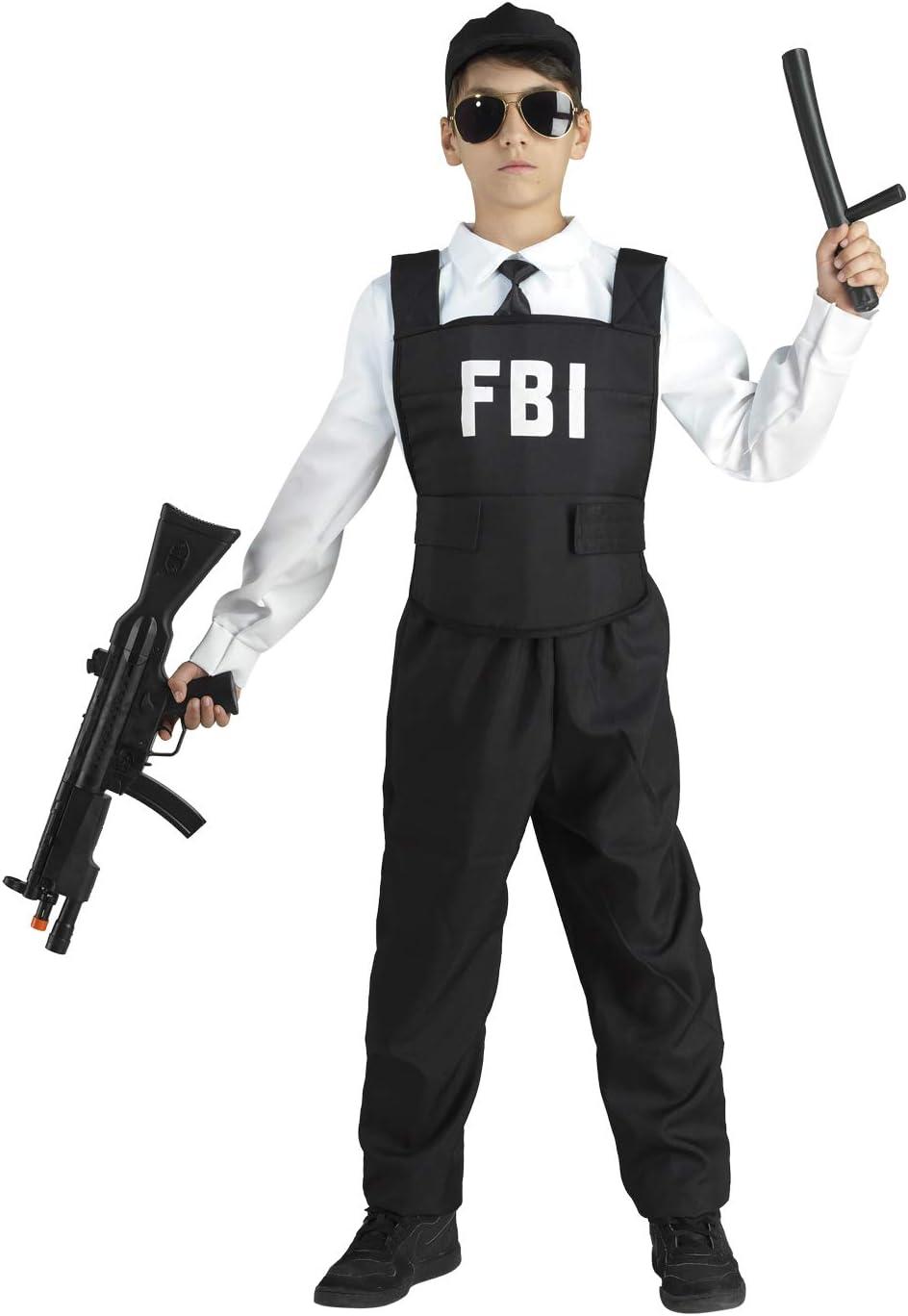 Clown Republic- Agente del FBI Disfraz para niño, C012, blanco, 6 ...