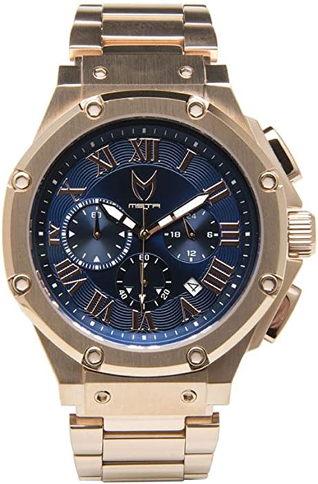 c12c006a15 Amazon.com: Meister/MSTR Ambassador Men's Watch | AM176SS | Rose Gold &  Blue | Stainless-Steel Band: Meister Watches: Watches