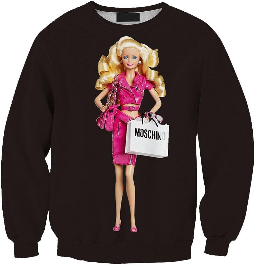 BOMOVO Moda para Mujer Equipada La camisa de manga larga sudadera Tapas encapuchadas Muñeca Barbie de impresión digital 3D: Amazon.es: Ropa y accesorios