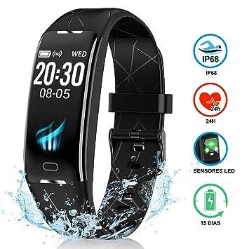 NAIXUES Pulsera Actividad Inteligente GPS, Pulsera Deportiva IP68, 7 Modos Deportes, Monitor Cardiaco Reloj Pulsaciones, Niños Mujeres Hombres, ...
