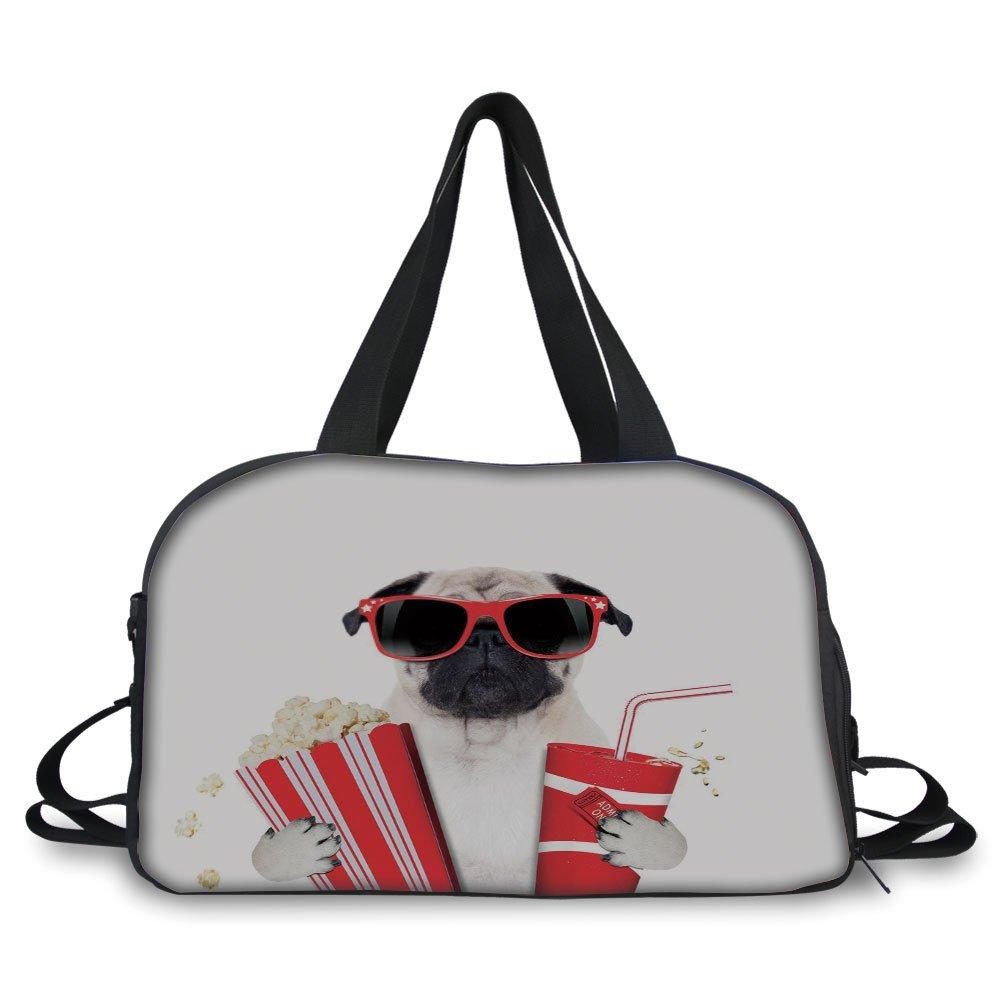 iPrint Travel handbag,Pug,Going to the Movies Pug Dog Popcorn Soft Drink Movie Star Glasses Animal Fun Image Decorative,Cream Red Black ,Personalized