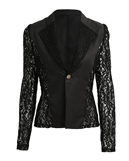 23074fbdb84c Image Unavailable. Image not available for. Color: Romacci Autumn Women  Blazer Jacket Lace Splicing Long ...