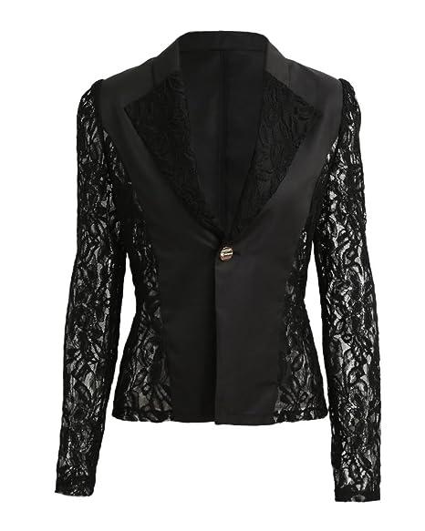 Amazon.com: Romacci Otoño Mujer Blazer Chaqueta Encaje ...