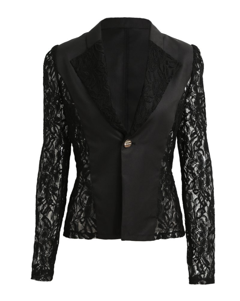 Romacci Autumn Women Blazer Jacket Lace Splicing Long Sleeves Slim Suit One Button Casual Coat Work Wear, Black/White