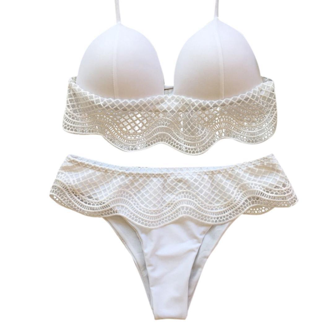 Traje de baño de mujer Nuevo, ❤ 💫 Ba Zha Hei Bikini de bikini de color sólido con triángulo para mujer Mujer Push Up Bikini con relleno de Anudado Estilo ...