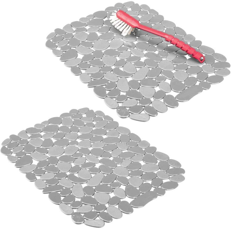 mDesign Adjustable Kitchen Sink Dish Drying Mat/Grid - Soft Plastic Sink Protector - Cushions Sinks, Stemware, Glasses, Dishes - Quick Draining Pebble Design - Large, 15.75
