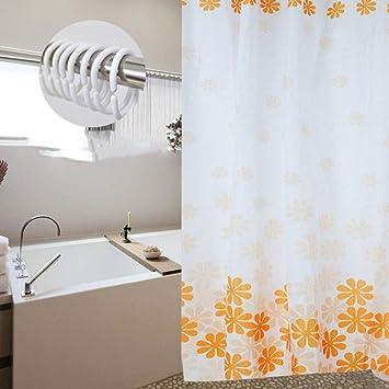 bathroom home Cortinas de Ducha,Flor Naranja,Tela Impermeable Anti-Moho Accesorios de