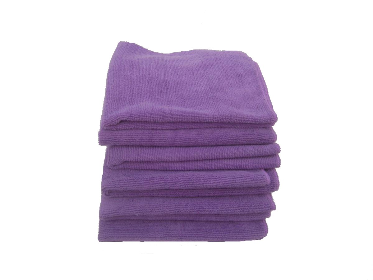 5 Beautful Purple Microfiber Towels 16'' X 16''- 300 GSM Professional Quality Plus One Bonus 16'' Blue Or Green Microfiber Glass Towel