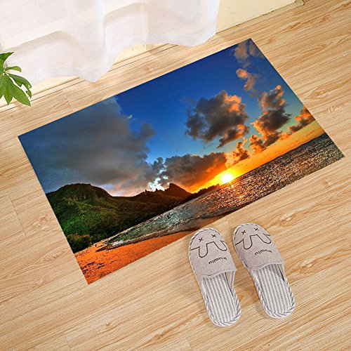 JANNINSE Beach Decoration Drenched Large Door Mat, Sunset Ov