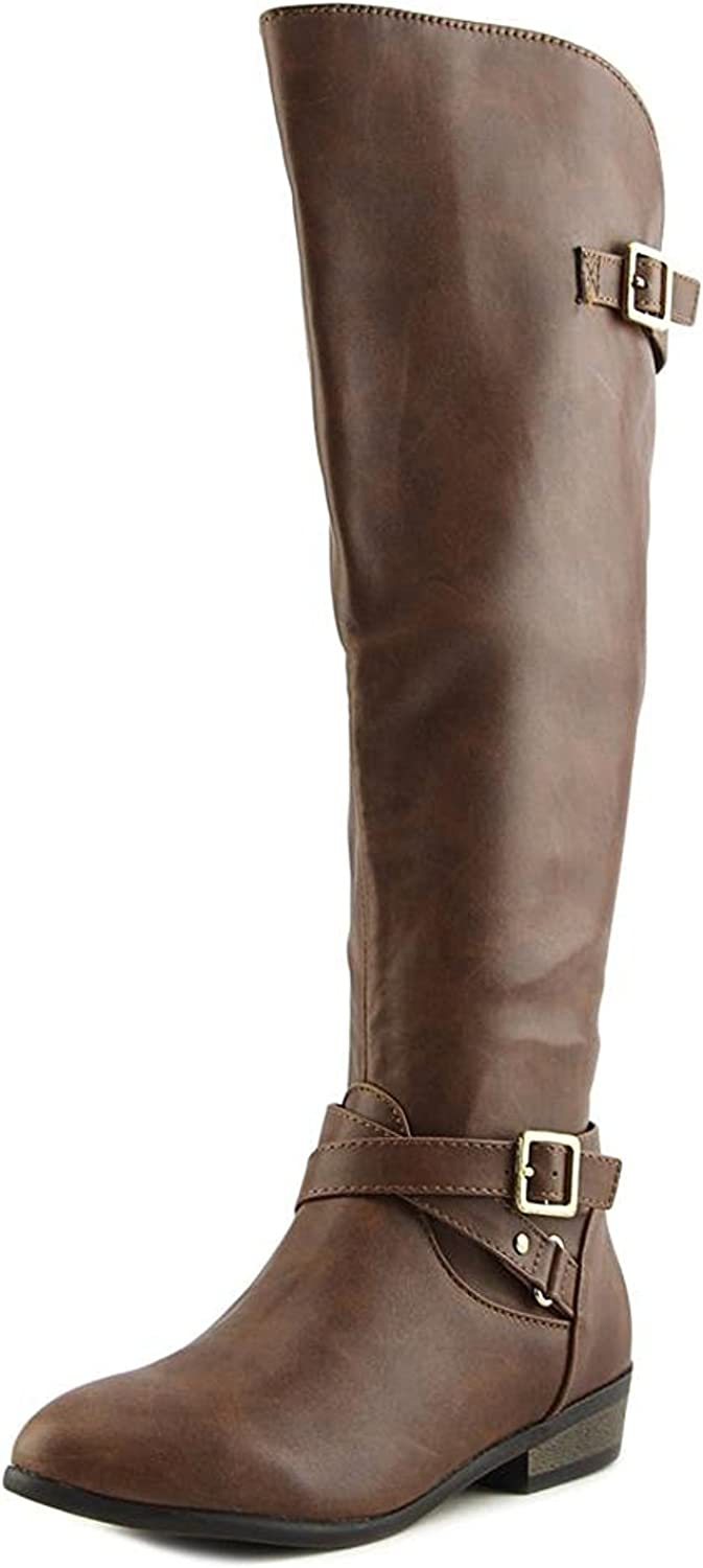 Material Girl Womens Capri Wide Calf Knee Fashionable and Stylish High Boot Cognac 7 M US