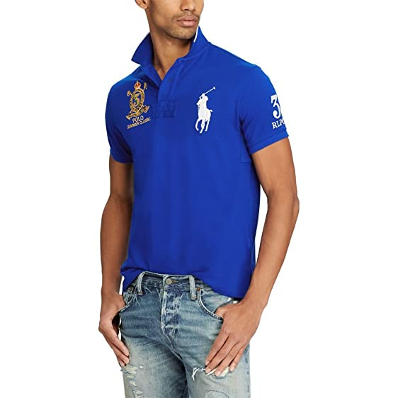 Polo Ralph Lauren Men\u0027s Custom Fit Mesh Big Pony Summer Classic Polo Shirt  (Medium,