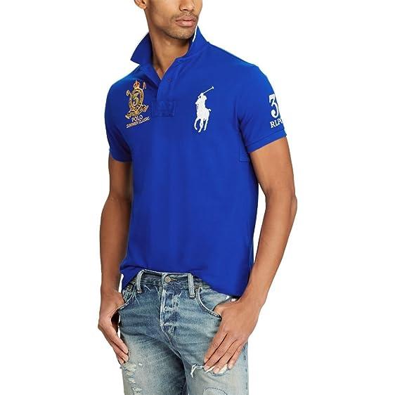 Polo Ralph Lauren Men\u0027s Custom Fit Mesh Big Pony Summer Classic Polo Shirt  (Medium,