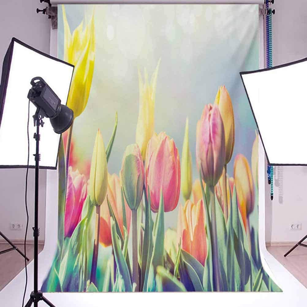 Pastel 6.5x10 FT Backdrop Photographers,Tulips Flower Bed in Park Serene Landscape Happiness Fresh Spring Environment Image Background for Baby Birthday Party Wedding Vinyl Studio Props Photography