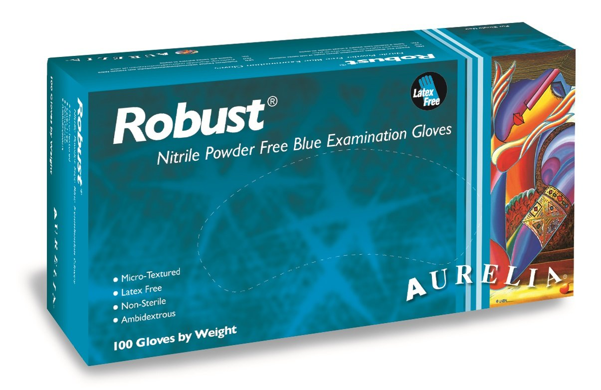 Aurelia Robust Nitrile Glove, Powder Free, 9.4'' Length, 5 mils Thick, Large (Pack of 1000) by Aurelia