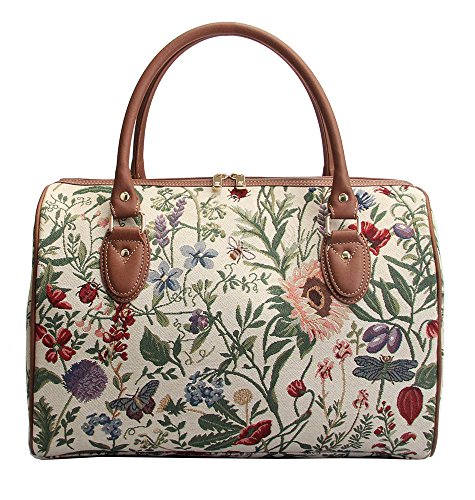 - Ladies Garden Flower Travel Duffel Weekender Bag Hand Luggage Overnight Bag by Signare with Sunflower Poppy Butterfly Dragonfly (TRAV-MGD)