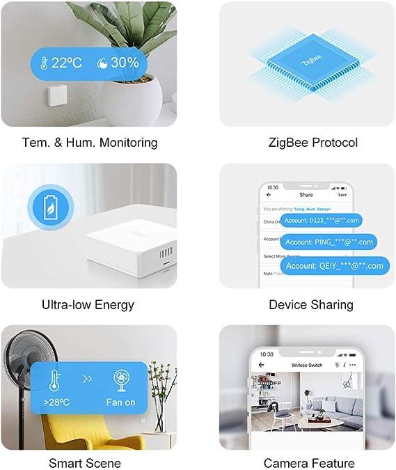 pont ZigBee SONOFF requis Fonctionne avec Alexa//Google Home SONOFF SNZB-02 Mini Capteur ZigBee de Temp/érature et dhumidit/é