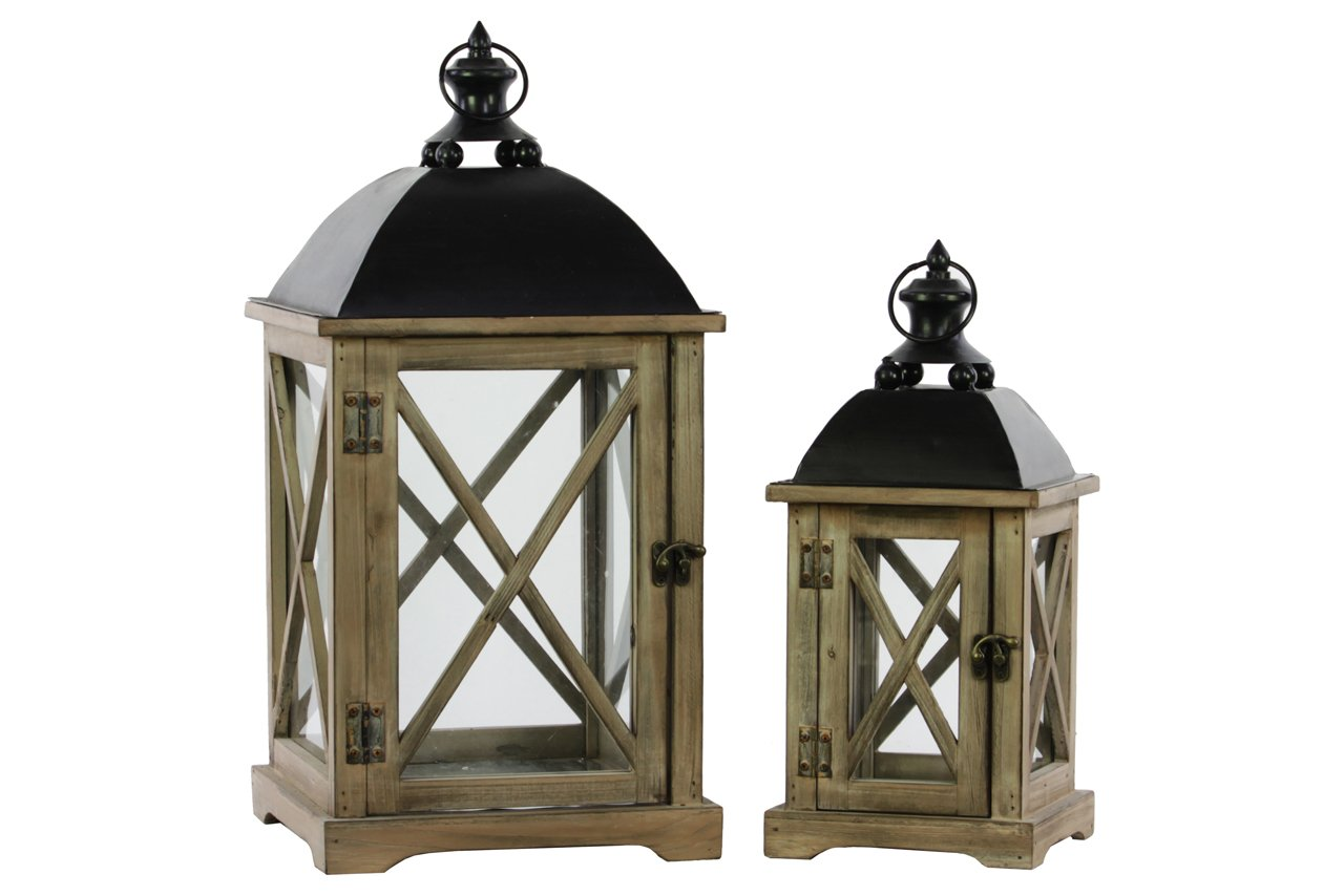 Wood Square Lantern with Cast Iron Top, Metal Ring Handle & Glass Sides Set of Two Natural Wood Finish Brown Luxury Home 46200