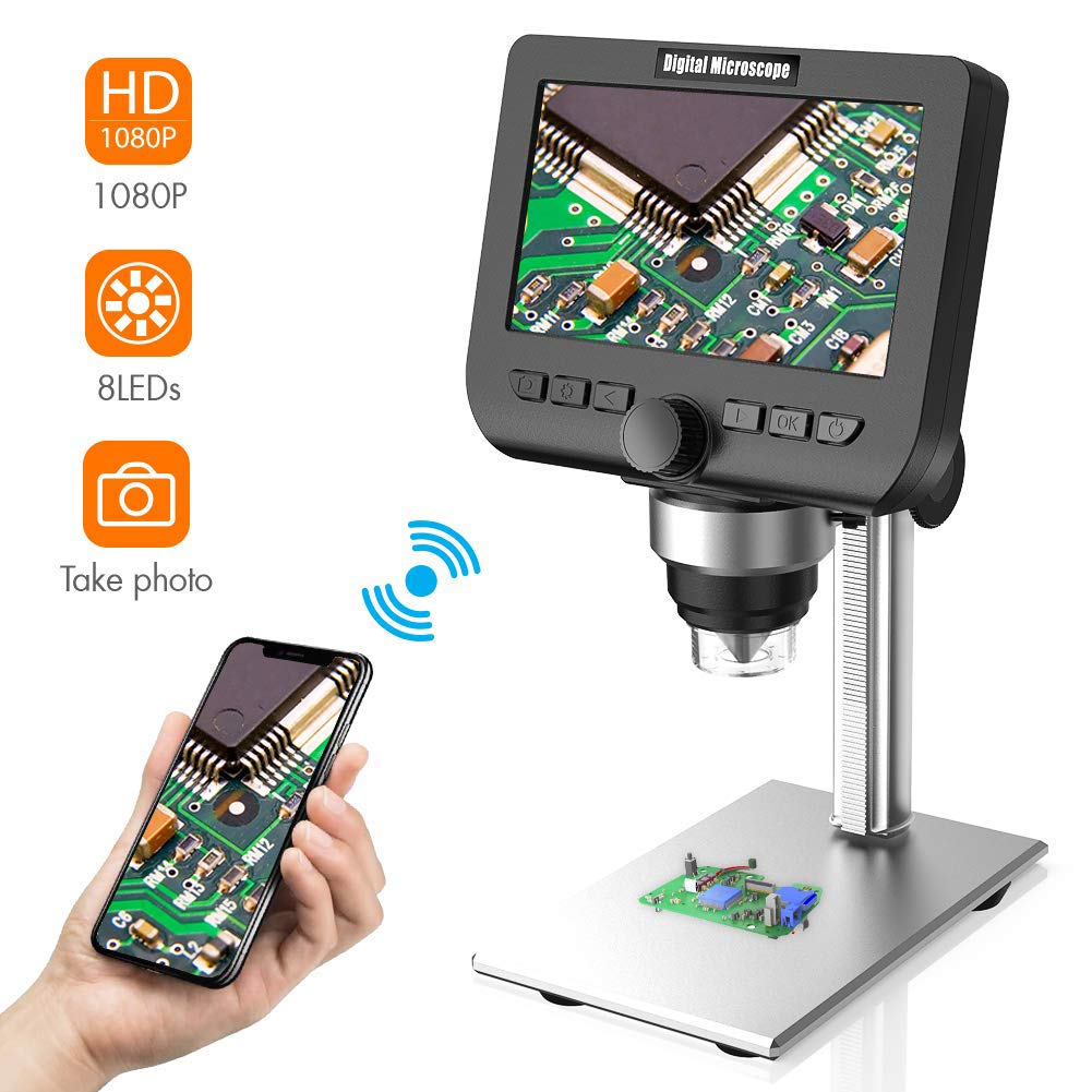 LCD Digital Microscope 4.3 Inch Portable HD 1000 /× Magnifier with LED Lights 1920 /× 1080 Resolution Observing Inspection Tool