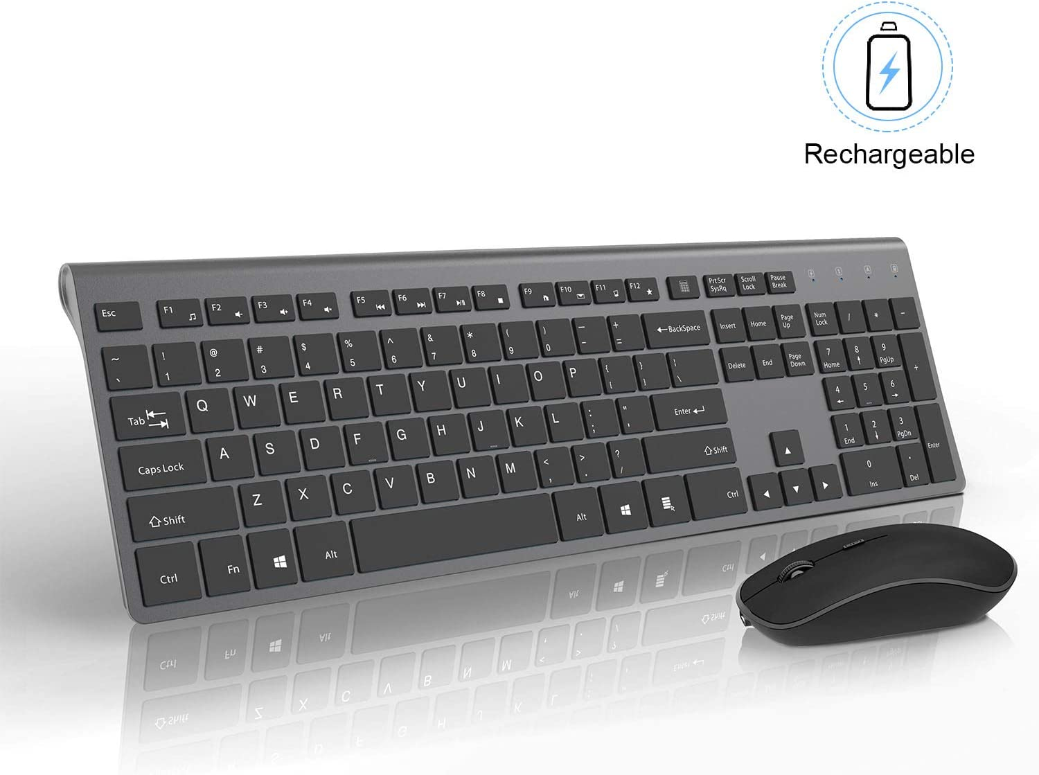 Rechargeable Wireless Keyboard and Mouse Combo-J JOYACCESS Portable Ergonomic Full Size Keyboard and Mouse,2.4GHz Stable Connection,Silent Mouse for Desktop and Laptop-Dark Grey