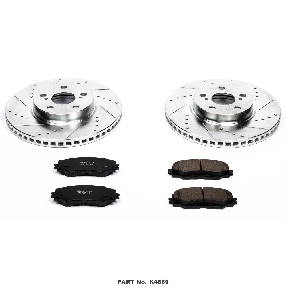 Power Stop K4669 Front Z23 Evolution Brake Kit with Drilled//Slotted Rotors and Ceramic Brake Pads