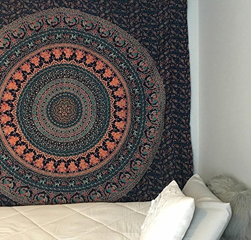 Indian Hippie Bohemian Psychedelic Cotton Floral Elephant Mandala Wall Hanging Tapestry Handmade Twin Size Gypsy Meditation Tapestry