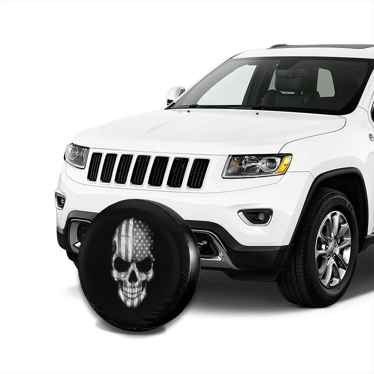 Vbnbvn Reserveradabdeckung Black and White Skull Flag Polyester Universal Waterproof Sunscreen Wheel Covers for Jeep Trailer RV SUV Truck and Many Vehicles 14 15 16 17