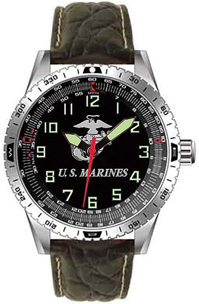 US Marines Military Performance Wrist Watch w Padded Genuine Leather Strap