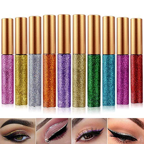 - Glitter Eyeliner Liquid Eyeshadow 10 Colors Highlighter Brighten Concealer Face Eye Cosmetic Glow Shimmer Makeup Glitter Brighten Pigments Makeup Cover Perfection Tip Concealer for women (10 Pcs)