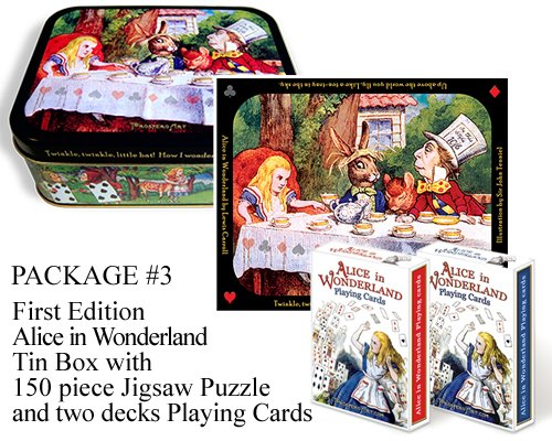 (Alice in Wonderland Collector Tin Box ~ with Two Playing Card Decks and 150 piece Jigsaw Puzzle ~ Package #3 ~ First Edition, limited to only 3,000)