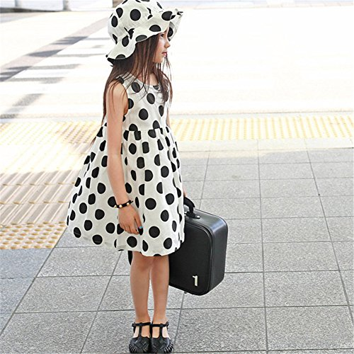 Cappellino Abito Punti Abbigliamento Di Estivo Ragazza Senza Remeehi Grandi Linea Con Neri Bianco Una Stesso Nello Maniche Stile Decorata Da r1aqWr