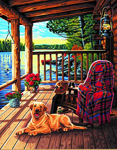 Dimensions Log Cabin Porch Paint by Numbers Kit for Kids and Adults, 14'' x 20''