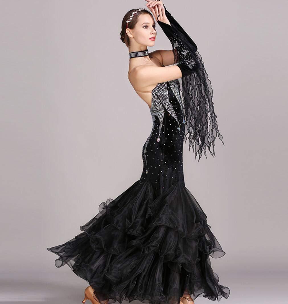 E XXL Valse Danse Jupe Robe Robe De Danse Moderne Robe National Standard Robe Strass Costumes De Danse Expansion Robe De Bal FlaHommesco
