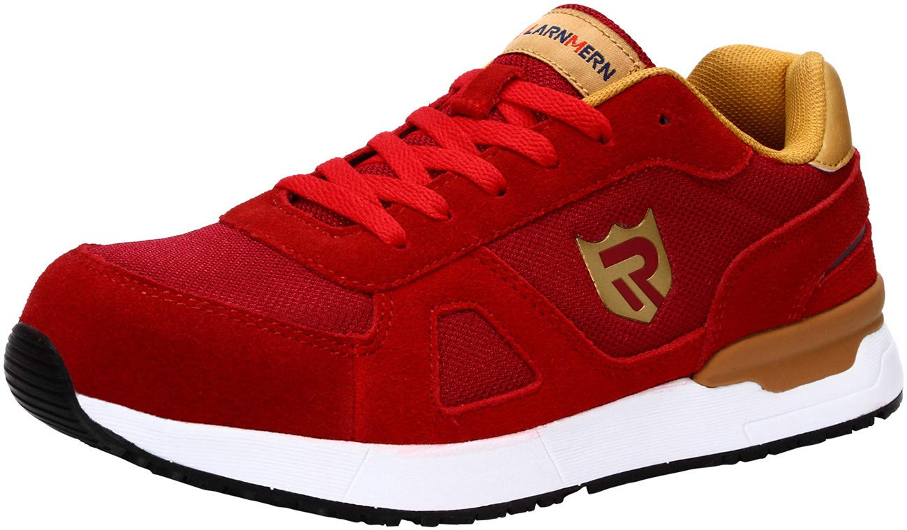 Steel Toe Shoes Women Safety Indestructible Womens Work Shoe Lightweight Non-Slip Men Sneakers Mens Breathable Construction Sneaker L9096(6.5 Men, Red Glod) by LARNMERN
