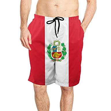 Peruvian Flag Mens Popular Beach Swim Trunks Quick Dry Board Shorts with Mesh Lining