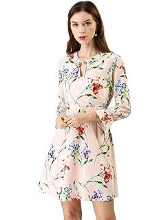 16b96c58d198 Allegra K Women s Tie V Neck Bell Sleeves Vintage Floral Print A-Line Dress