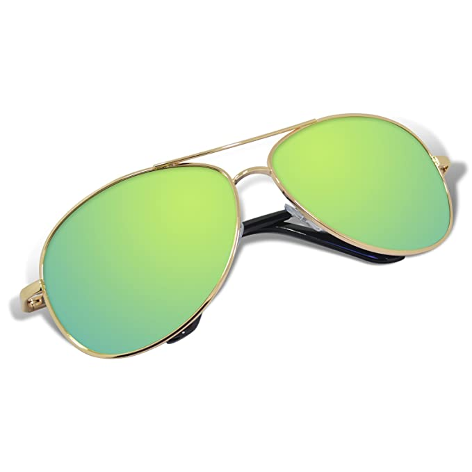 WHCREAT Hombre Polarizado Gafas de sol UV 400 Proteccion Spring Bisagra Marco de Metal Espejo Lente de Color VrYbMG