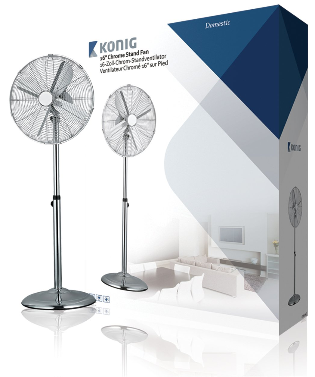 HQ KN-MSF16UK Chrome Metal Finish 3 speed Oscillating Pedestal Fan With Tilt Able Head, 16-Inch Nedis